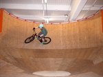 The wall ride in the pump track at the Lumberyard.